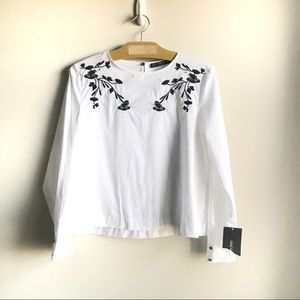 Zara Basic Embroidered Peasant Blouse Top NWT